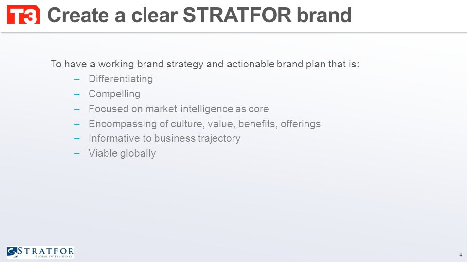 The communications brief Key activities: STRATFOR/T3 working session to agree:  Target, markets, campaign budget, timing  Go to market plan  Test strategy  Campaign success metrics Develop and finalize communications brief 15 Desired outputs:  Approved communications brief  Go/no-go on ex-U.S.