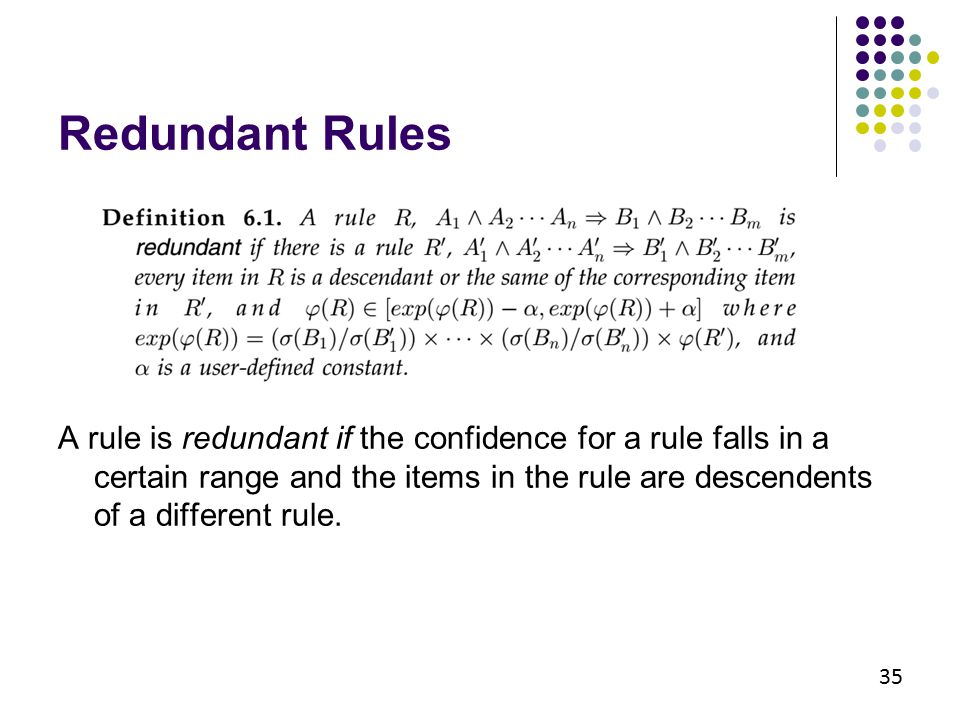 35 A rule is redundant if the confidence for a rule falls in a certain range and the items in the rule are descendents of a different rule. Redundant