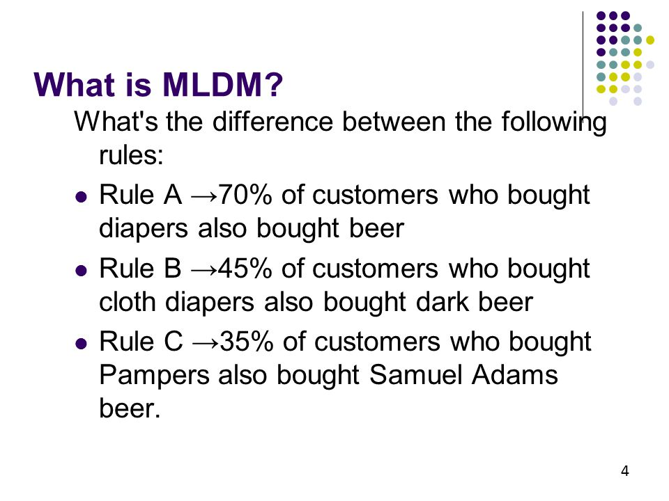 What is MLDM? What's the difference between the following rules: Rule A →70% of customers who bought diapers also bought beer Rule B →45% of customers