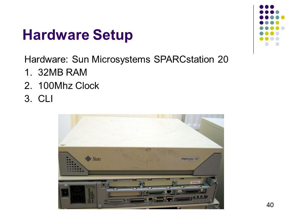 40 Hardware Setup Hardware: Sun Microsystems SPARCstation 20 1. 32MB RAM 2. 100Mhz Clock 3. CLI