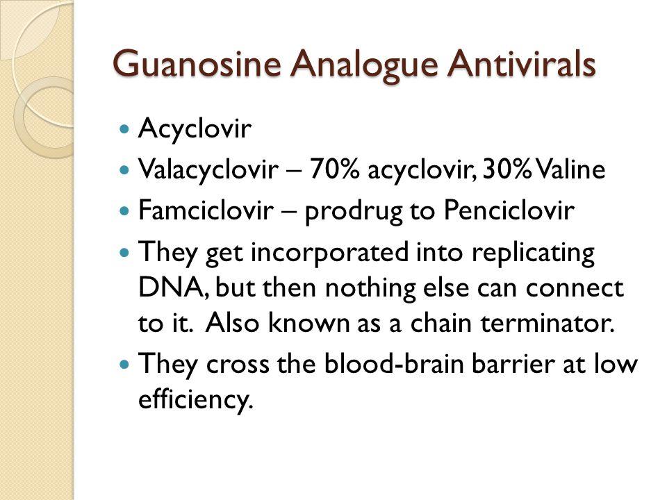 Guanosine Analogue Antivirals Acyclovir Valacyclovir – 70% acyclovir, 30% Valine Famciclovir – prodrug to Penciclovir They get incorporated into repli