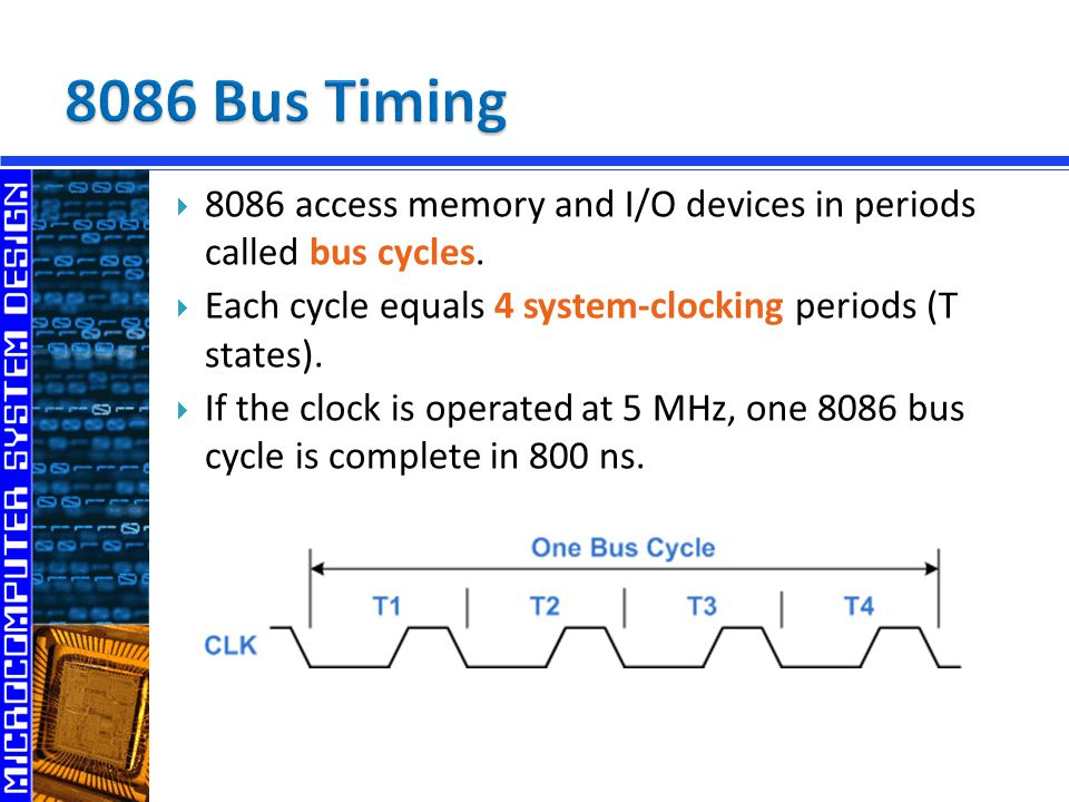  8086 access memory and I/O devices in periods called bus cycles.  Each cycle equals 4 system-clocking periods (T states).  If the clock is operate