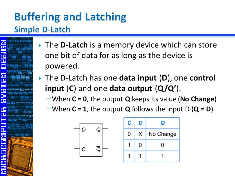  The D-Latch is a memory device which can store one bit of data for as long as the device is powered.  The D-Latch has one data input (D), one contr