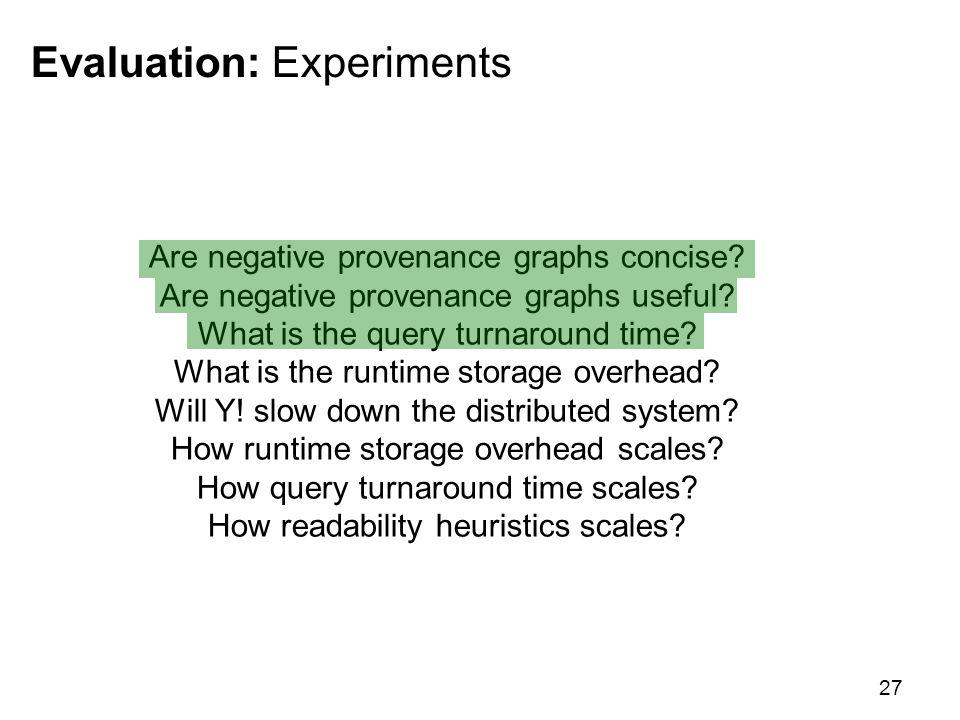 Evaluation: Experiments 27 Are negative provenance graphs concise.