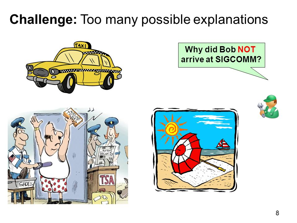 Challenge: Too many possible explanations 8 Why did Bob NOT arrive at SIGCOMM?