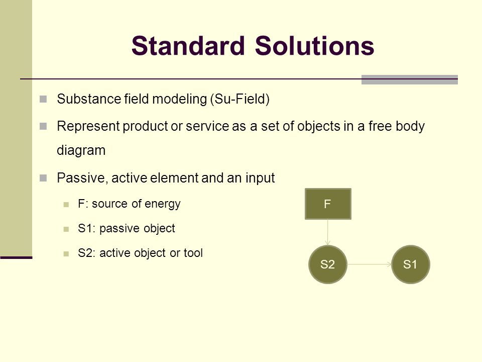 Standard Solutions Substance field modeling (Su-Field) Represent product or service as a set of objects in a free body diagram Passive, active element