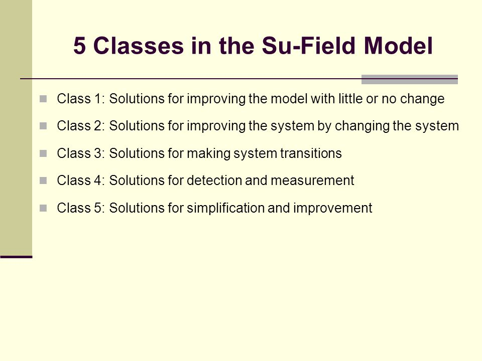 5 Classes in the Su-Field Model Class 1: Solutions for improving the model with little or no change Class 2: Solutions for improving the system by changing the system Class 3: Solutions for making system transitions Class 4: Solutions for detection and measurement Class 5: Solutions for simplification and improvement