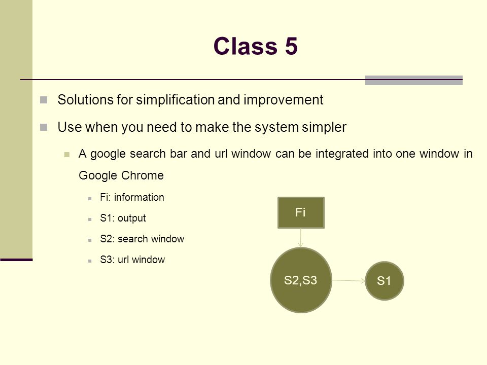 Solutions for simplification and improvement Use when you need to make the system simpler A google search bar and url window can be integrated into one window in Google Chrome Fi: information S1: output S2: search window S3: url window Class 5 S2,S3 S1 Fi