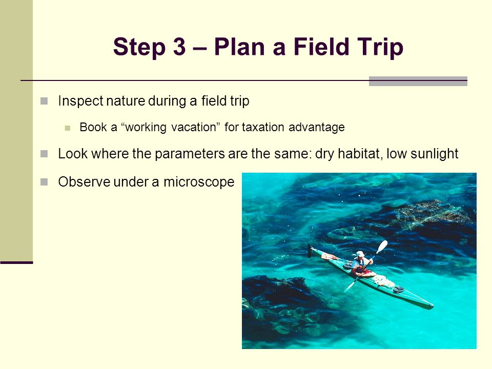 Step 3 – Plan a Field Trip Inspect nature during a field trip Book a working vacation for taxation advantage Look where the parameters are the same: dry habitat, low sunlight Observe under a microscope