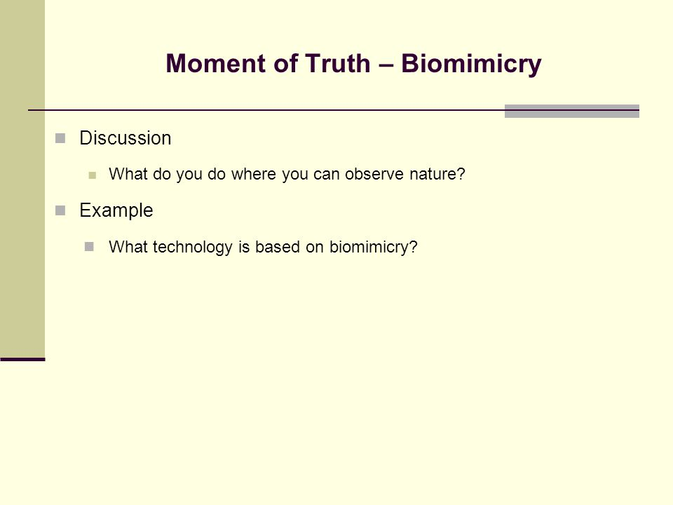 Moment of Truth – Biomimicry Discussion What do you do where you can observe nature? Example What technology is based on biomimicry?