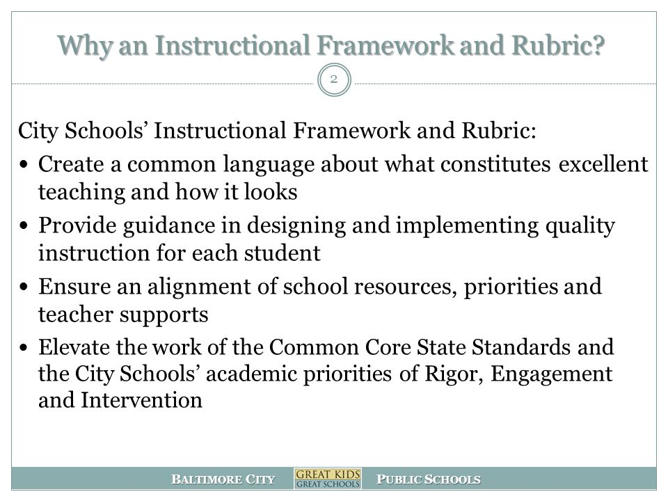B ALTIMORE C ITY P UBLIC S CHOOLS Why an Instructional Framework and Rubric.