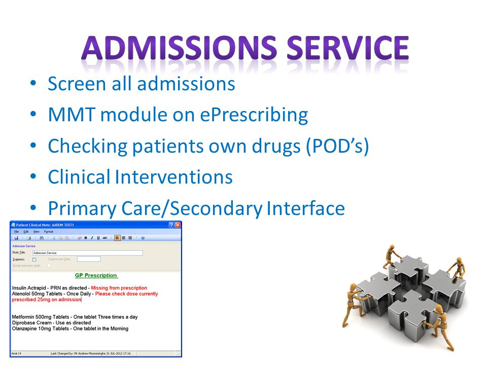 Screen all admissions MMT module on ePrescribing Checking patients own drugs (POD's) Clinical Interventions Primary Care/Secondary Interface