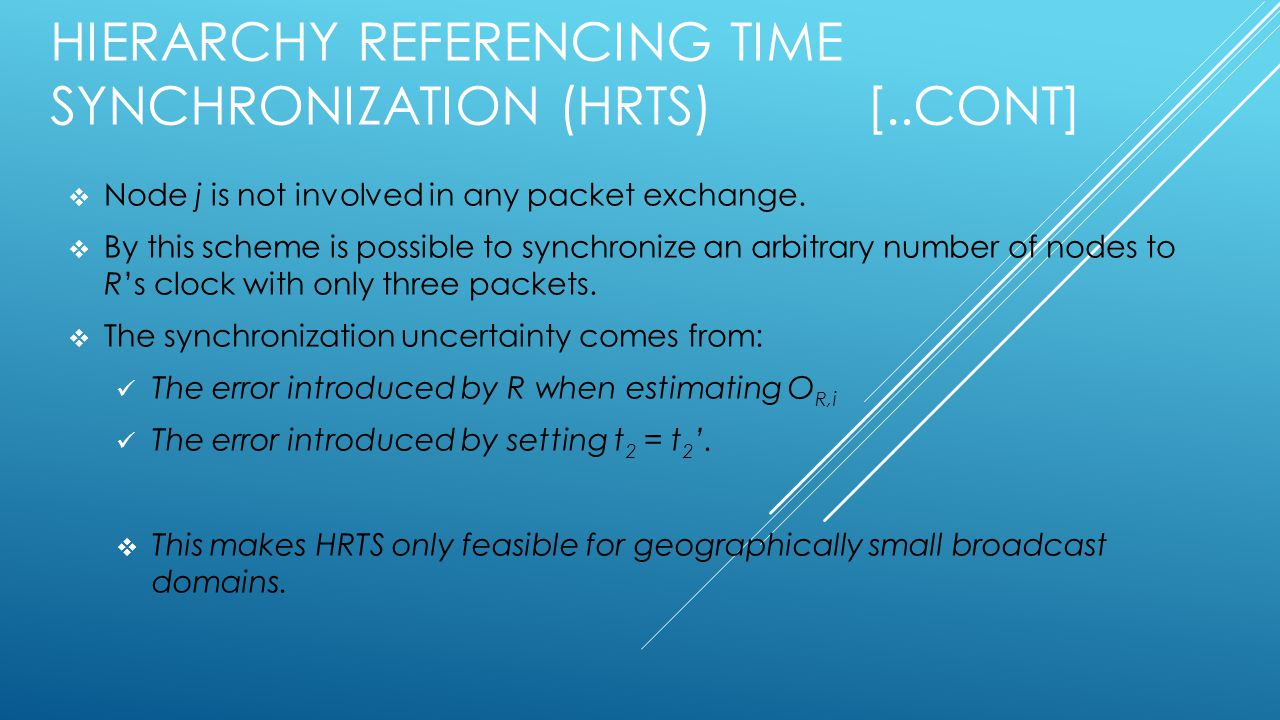 HIERARCHY REFERENCING TIME SYNCHRONIZATION (HRTS) [..CONT]  Node j is not involved in any packet exchange.