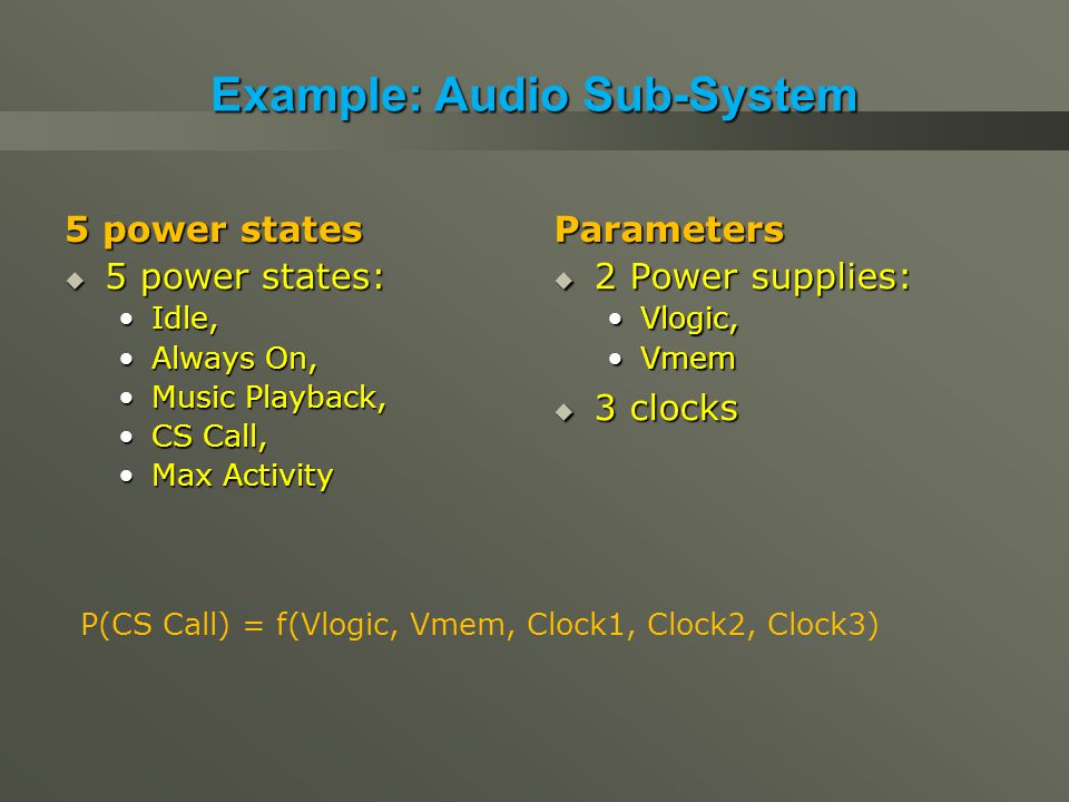 Example: Audio Sub-System 5 power states  5 power states: Idle,Idle, Always On,Always On, Music Playback,Music Playback, CS Call,CS Call, Max ActivityMax Activity Parameters  2 Power supplies: Vlogic,Vlogic, VmemVmem  3 clocks P(CS Call) = f(Vlogic, Vmem, Clock1, Clock2, Clock3)