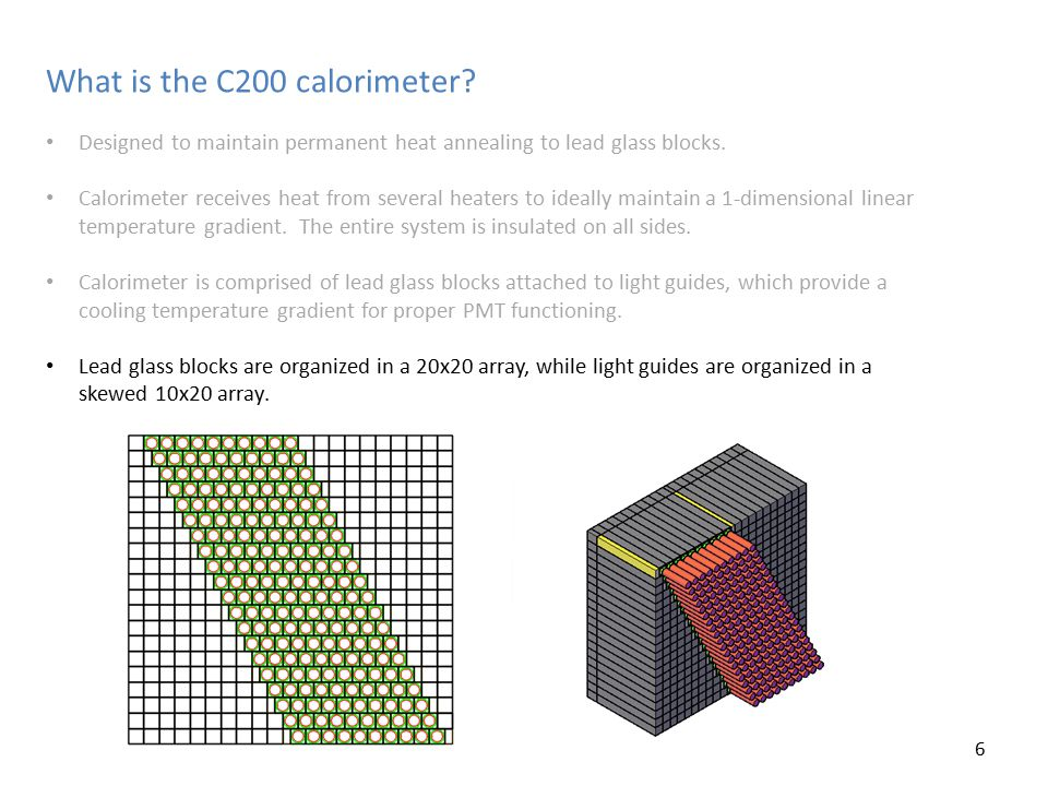 What is the C200 calorimeter. Designed to maintain permanent heat annealing to lead glass blocks.