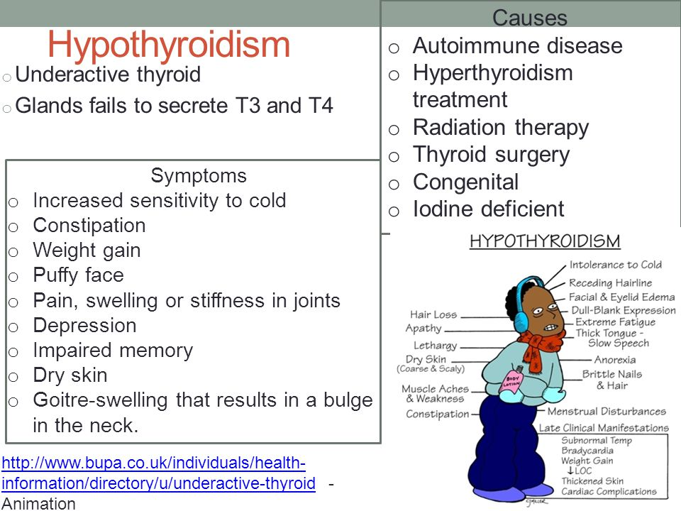 Hypothyroidism o Underactive thyroid o Glands fails to secrete T3 and T4 http://www.bupa.co.uk/individuals/health- information/directory/u/underactive