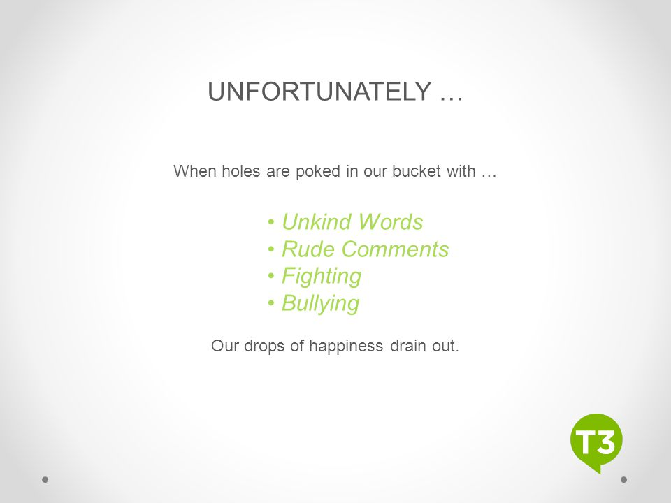 Subhead Text Here UNFORTUNATELY … When holes are poked in our bucket with … Unkind Words Rude Comments Fighting Bullying Our drops of happiness drain