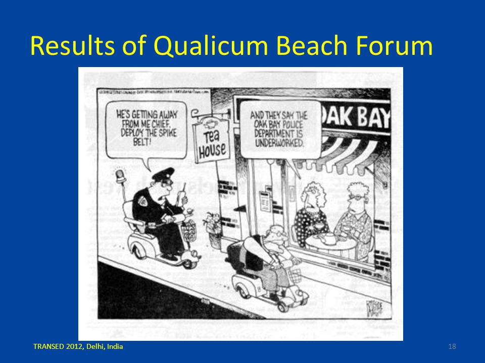 Results of Qualicum Beach Forum 18TRANSED 2012, Delhi, India