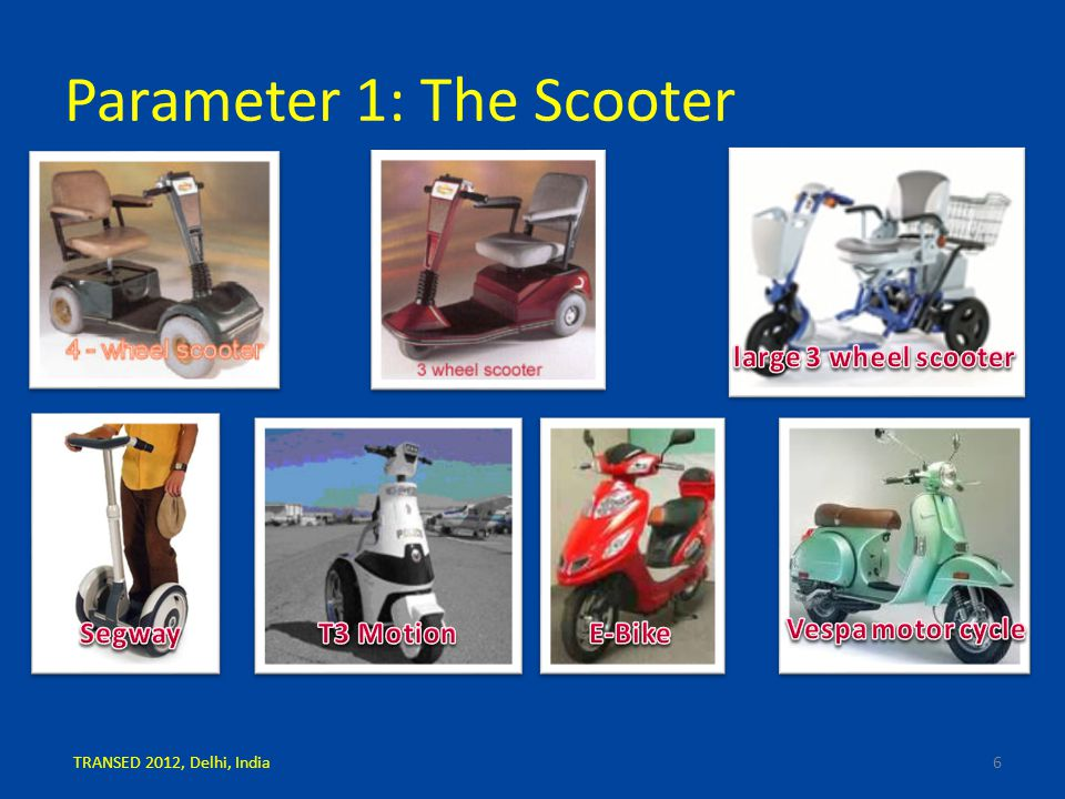 Parameter 1: The Scooter 6TRANSED 2012, Delhi, India