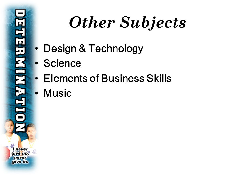 Design & Technology Science Elements of Business Skills Music Other Subjects