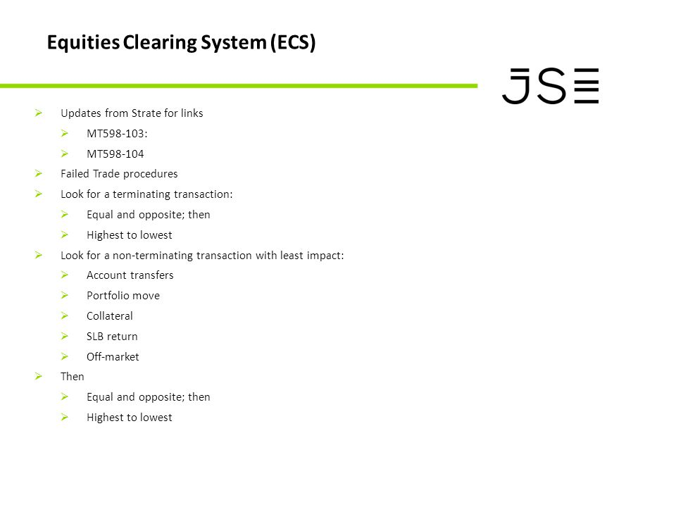 Equities Clearing System (ECS)  Updates from Strate for links  MT598-103:  MT598-104  Failed Trade procedures  Look for a terminating transaction