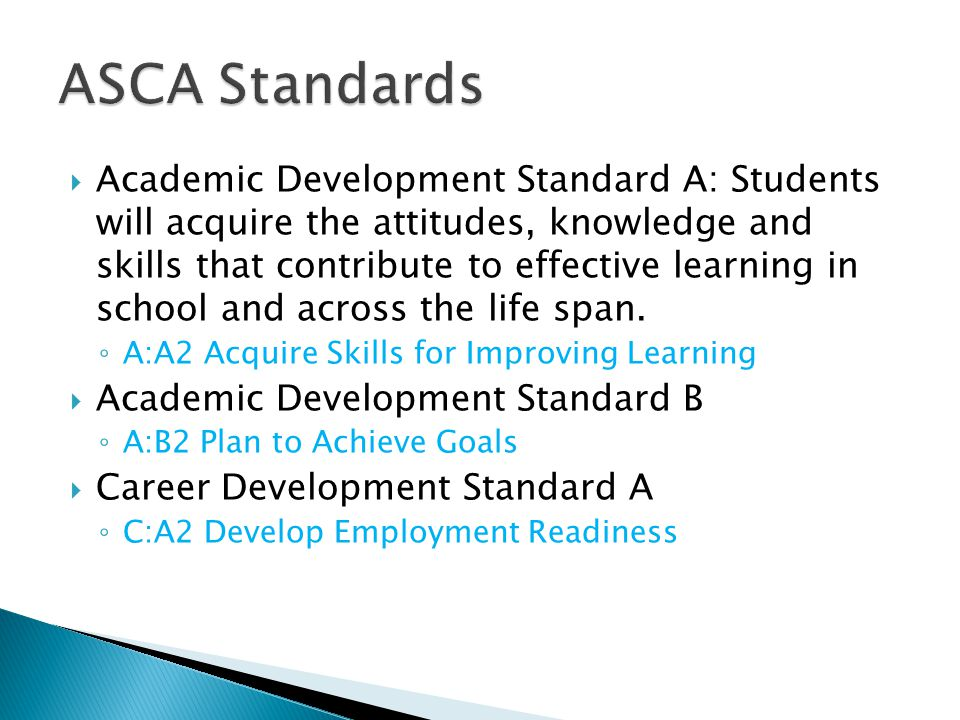  Academic Development Standard A: Students will acquire the attitudes, knowledge and skills that contribute to effective learning in school and across the life span.