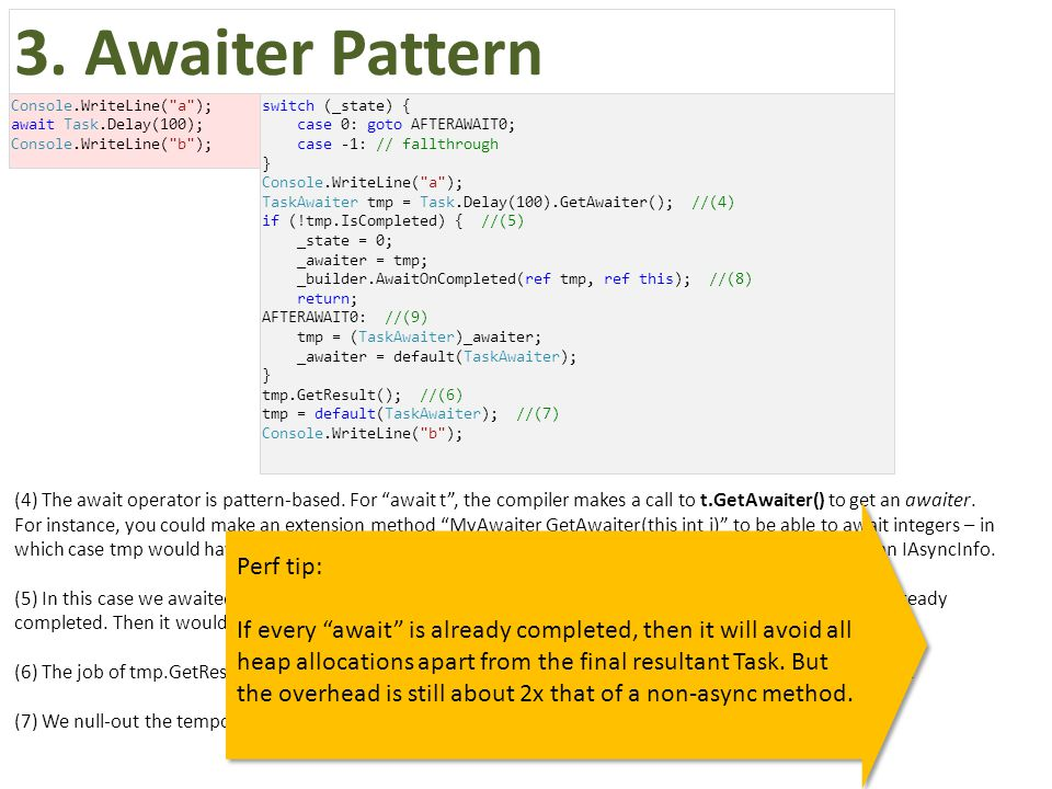 (4) The await operator is pattern-based.