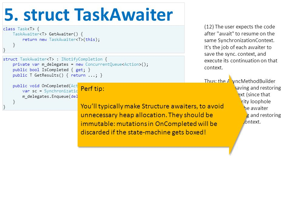 (12) The user expects the code after await to resume on the same SynchronizationContext.