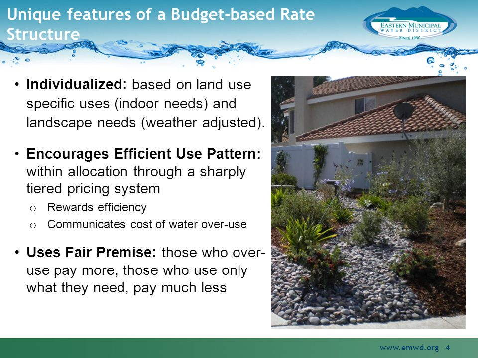 Example: The IRWD Rate Model Irvine Ranch Water District pioneered the allocation-based rate structure in 1991 o Motivated by the drought in late 1980s Direct nexus between use and cost o Allocates costs funded by penalty tiers to the sales associated with the different levels of wasteful use Split between fixed and volumetric costs insulates IRWD from potential negative financial impacts of reduced water sales.