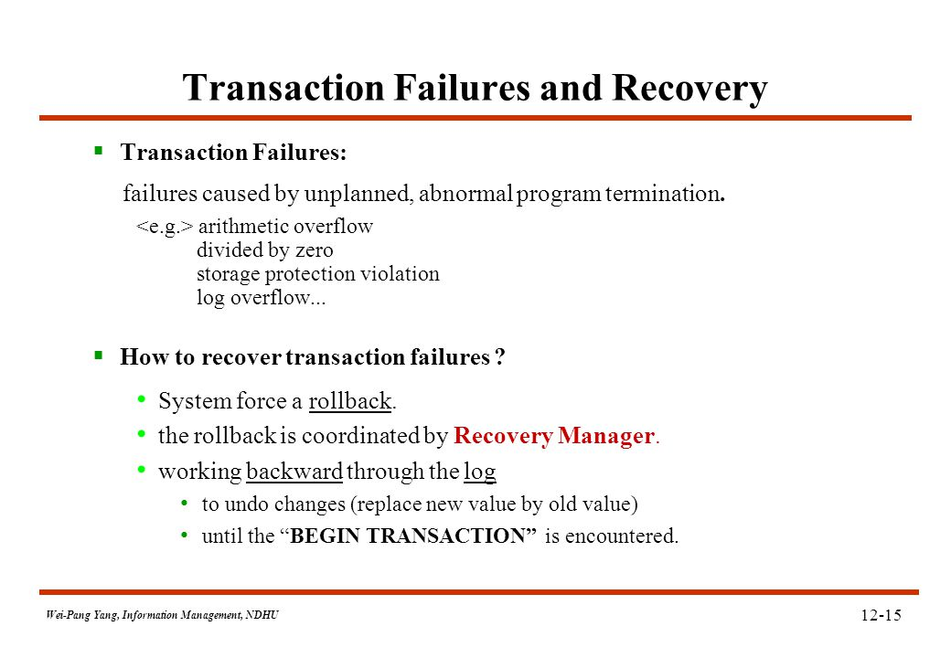 Wei-Pang Yang, Information Management, NDHU 12-15 Transaction Failures and Recovery  Transaction Failures: failures caused by unplanned, abnormal pro