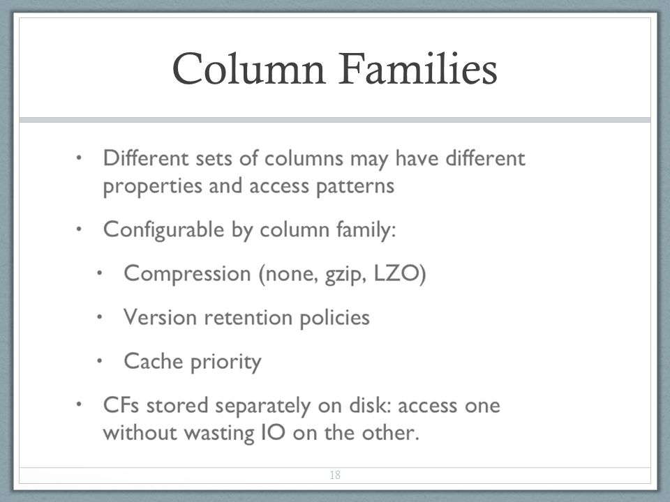 Column Families 18
