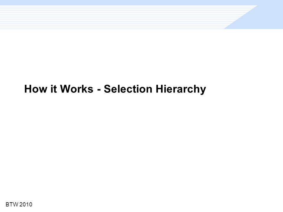 BTW 2010 How it Works - Selection Hierarchy
