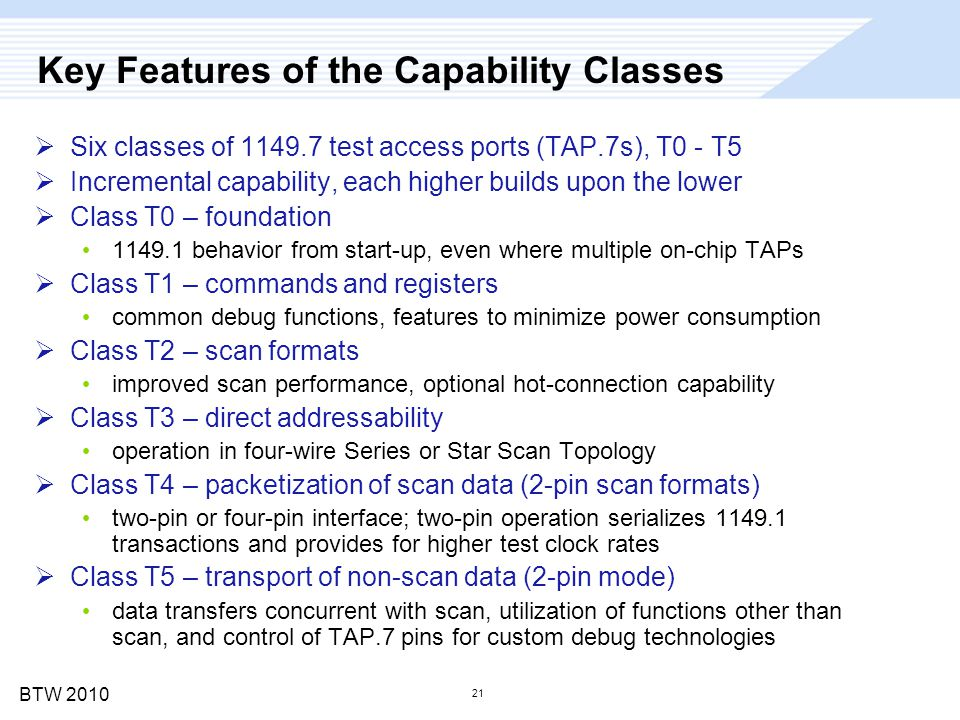 BTW 2010 21 Key Features of the Capability Classes  Six classes of 1149.7 test access ports (TAP.7s), T0 - T5  Incremental capability, each higher b