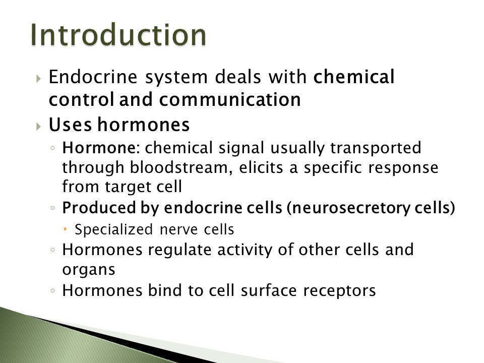  Endocrine system deals with chemical control and communication  Uses hormones ◦ Hormone: chemical signal usually transported through bloodstream, e