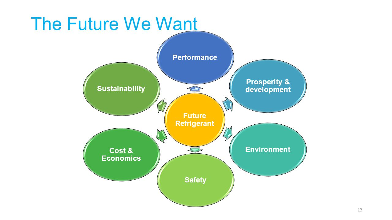 Future Refrigerant Performance Prosperity & development EnvironmentSafety Cost & Economics Sustainability 13 The Future We Want