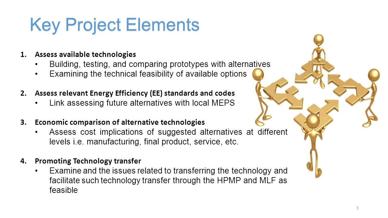 1.Assess available technologies Building, testing, and comparing prototypes with alternatives Examining the technical feasibility of available options 2.Assess relevant Energy Efficiency (EE) standards and codes Link assessing future alternatives with local MEPS 3.Economic comparison of alternative technologies Assess cost implications of suggested alternatives at different levels i.e.