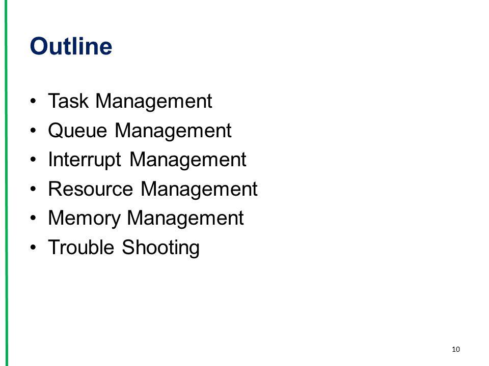 Outline Task Management Queue Management Interrupt Management Resource Management Memory Management Trouble Shooting 10