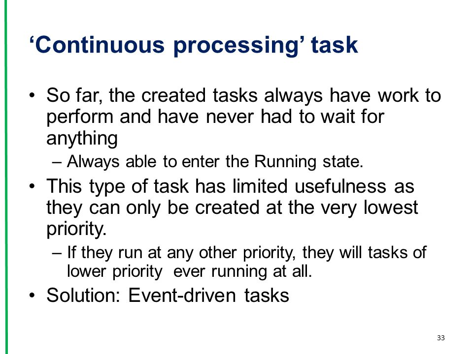'Continuous processing' task So far, the created tasks always have work to perform and have never had to wait for anything –Always able to enter the R