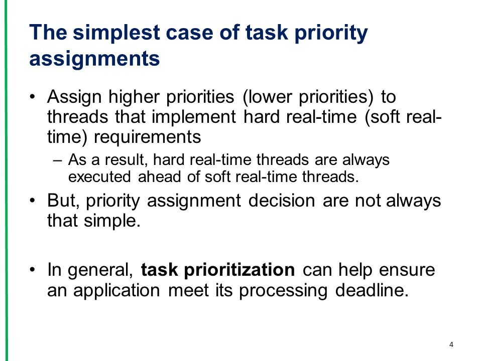Idle Task Hook Functions Add application specific functionality directly into the idle task by the use of an idle hook –A function called automatically by the idle task once per iteration of the idle task loop Common uses for the Idle task hook –Executing low priority, background, or continuous processing –Measuring the amount of spare processing capacity –Placing the processor into a low power mode, providing an automatic method of saving power whenever no application processing to be performed.