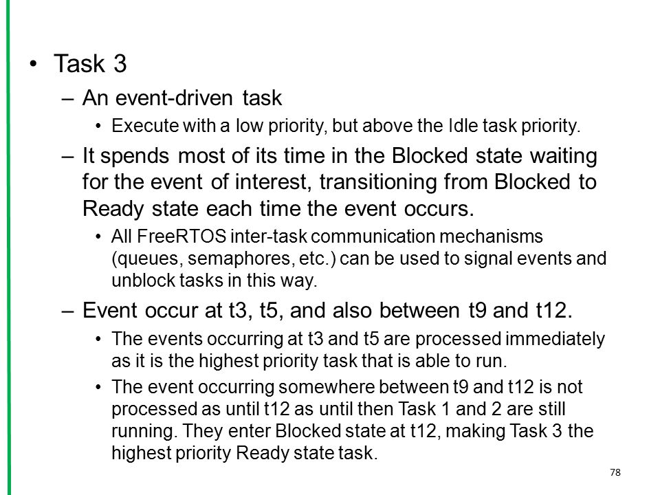 Task 3 –An event-driven task Execute with a low priority, but above the Idle task priority. –It spends most of its time in the Blocked state waiting f