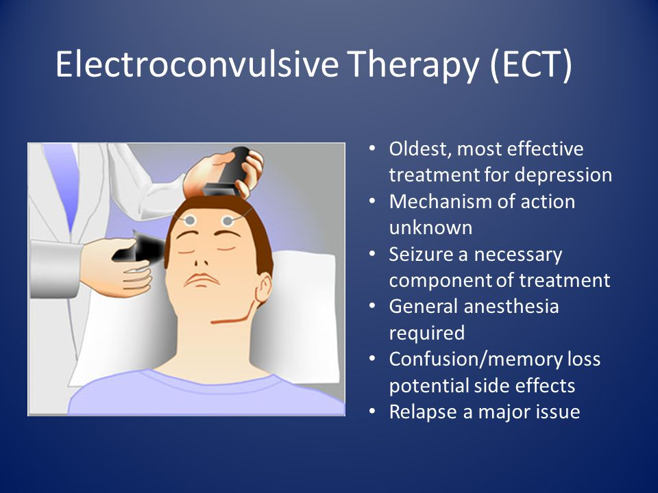 Electroconvulsive Therapy (ECT) Oldest, most effective treatment for depression Mechanism of action unknown Seizure a necessary component of treatment