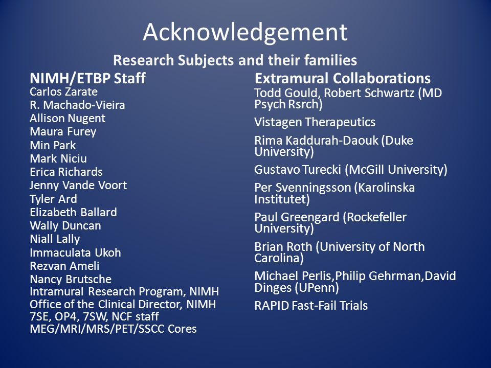 Acknowledgement NIMH/ETBP Staff Carlos Zarate R. Machado-Vieira Allison Nugent Maura Furey Min Park Mark Niciu Erica Richards Jenny Vande Voort Tyler
