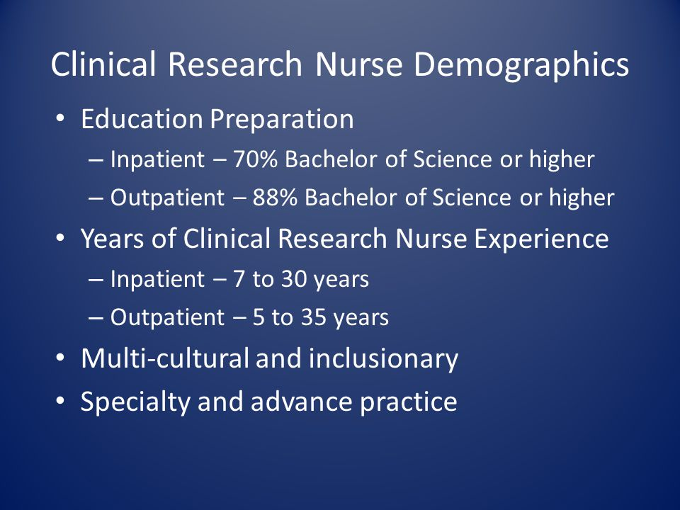 Clinical Research Nurse Demographics Education Preparation – Inpatient – 70% Bachelor of Science or higher – Outpatient – 88% Bachelor of Science or h