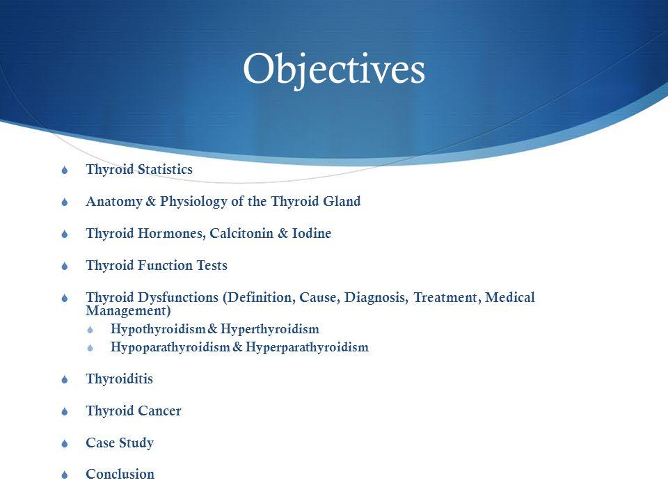 Objectives  Thyroid Statistics  Anatomy & Physiology of the Thyroid Gland  Thyroid Hormones, Calcitonin & Iodine  Thyroid Function Tests  Thyroid