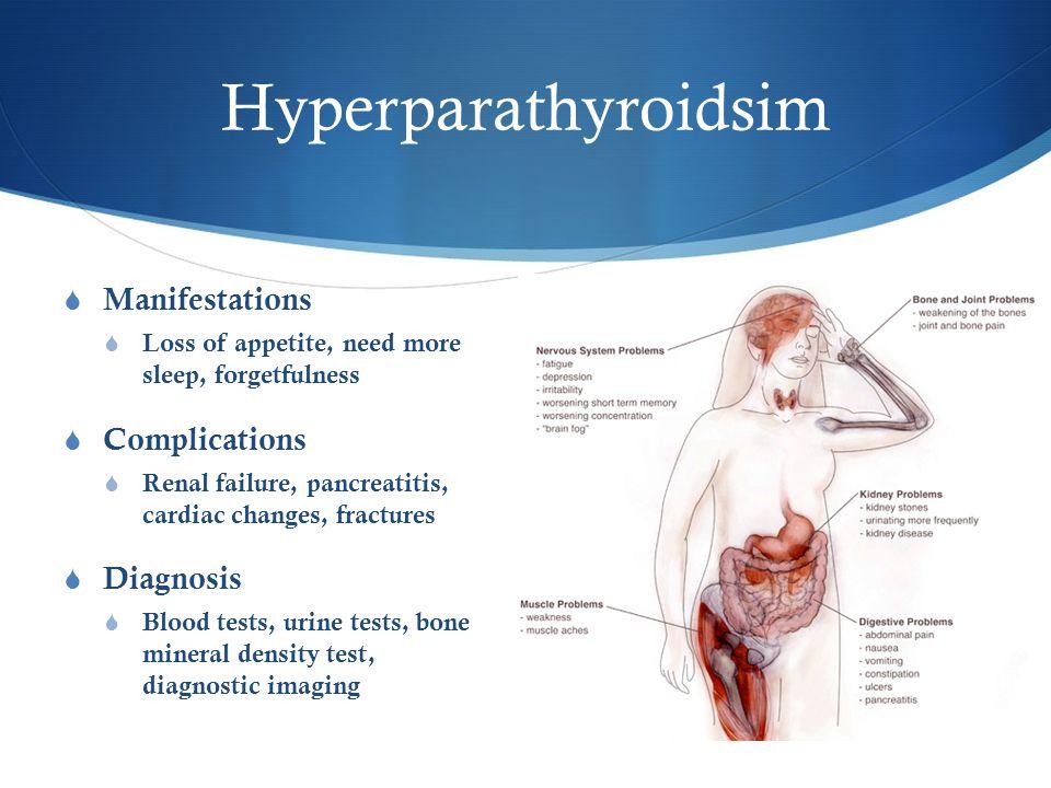 Hyperparathyroidsim  Manifestations  Loss of appetite, need more sleep, forgetfulness  Complications  Renal failure, pancreatitis, cardiac changes