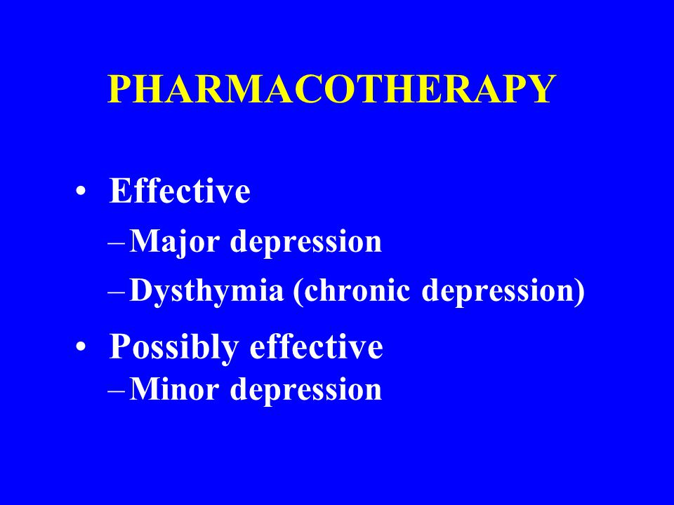 Initial Acute Phase Treatment Elicit patient preference Assess suicidality Generally start with SSRI Provide educational messages Elicit commitment to take medication regularly Arrange early follow-up (1 to 3 weeks) Repeat PHQ-9 every month until remission Start at or increase dose every week up to adequate dose Once at adequate dose, re-evaluate dose q/month www.ahrq.gov; www.depression-primarycare.org; APA
