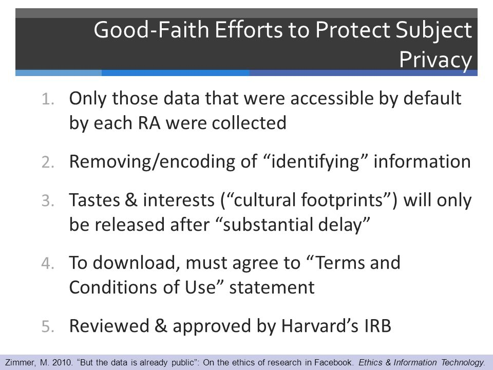 Good-Faith Efforts to Protect Subject Privacy 1.