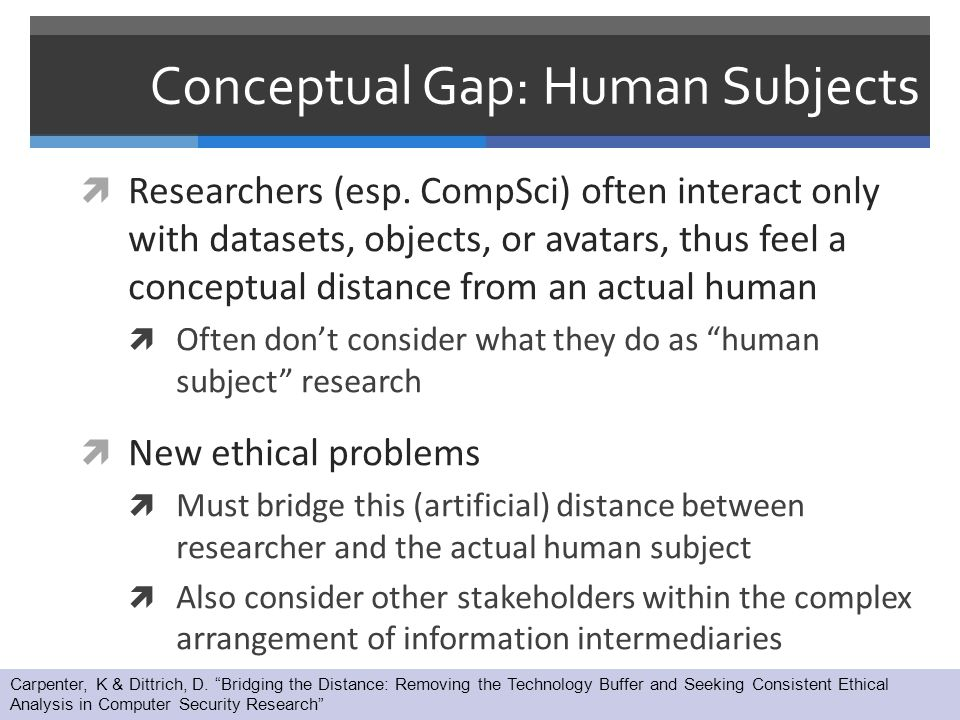 Conceptual Gap: Human Subjects  Researchers (esp.