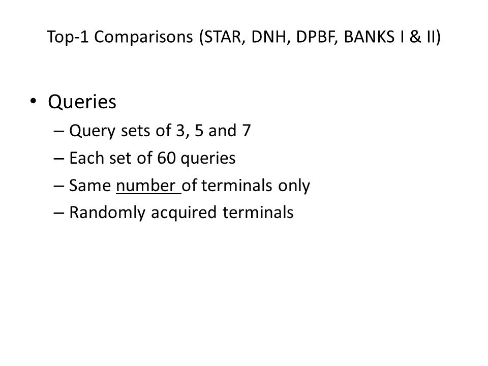 Top-1 Comparisons (STAR, DNH, DPBF, BANKS I & II) Queries – Query sets of 3, 5 and 7 – Each set of 60 queries – Same number of terminals only – Random