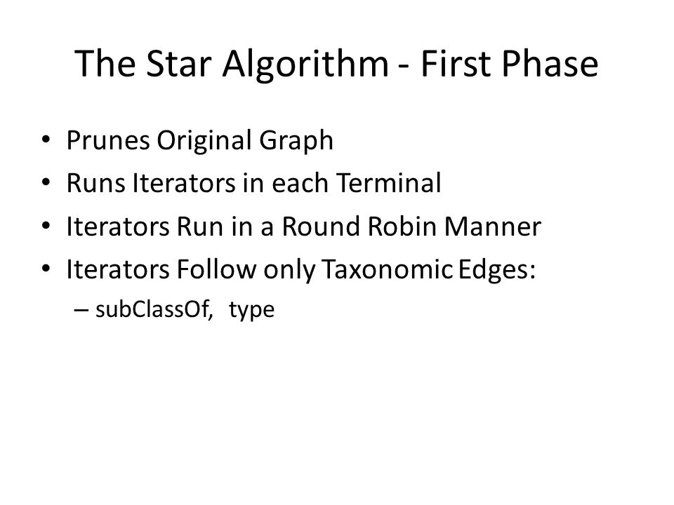 The Star Algorithm - First Phase Prunes Original Graph Runs Iterators in each Terminal Iterators Run in a Round Robin Manner Iterators Follow only Tax